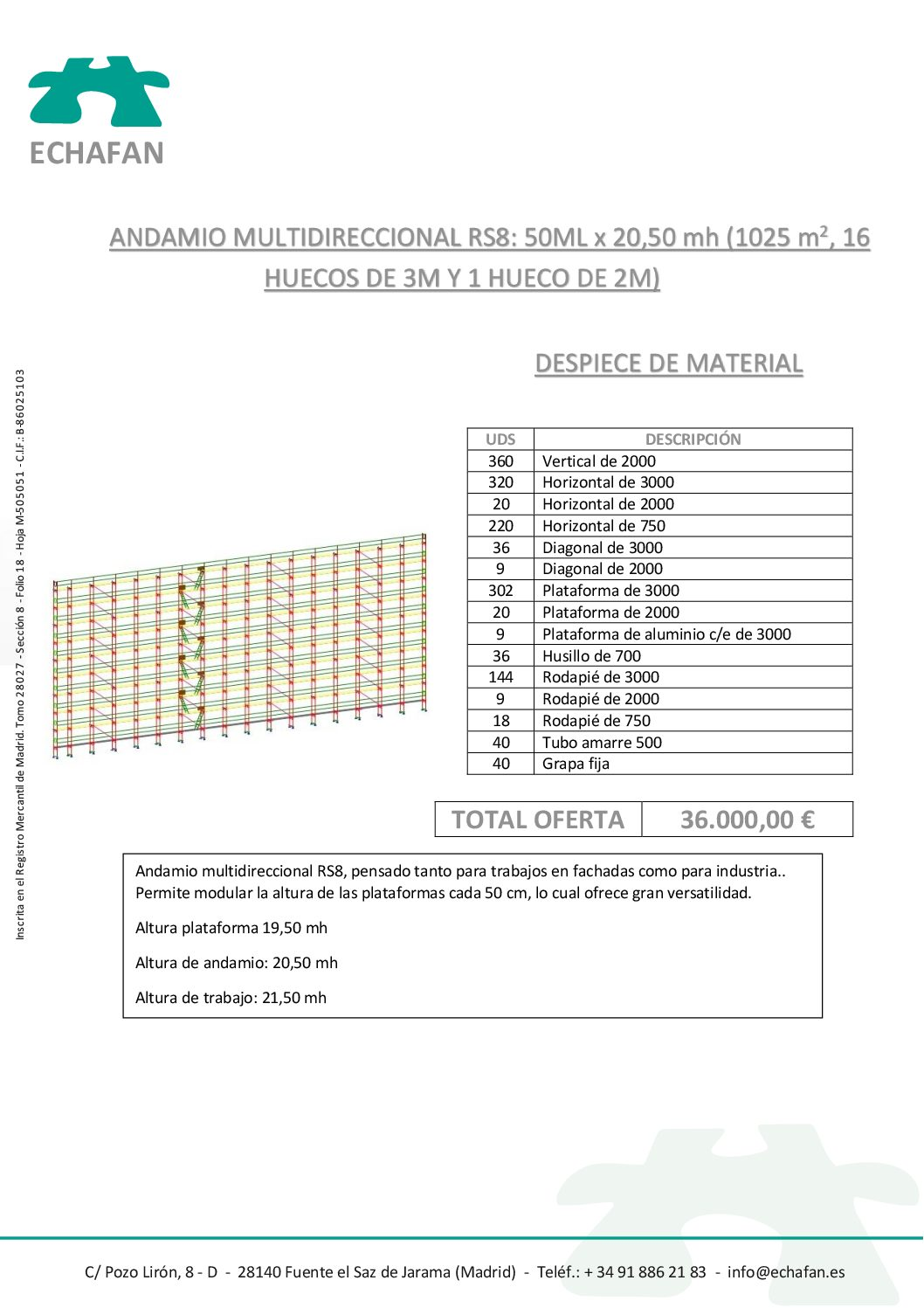 ANDAMIO MULTIDIRECCIONAL 50x20,50- 36
